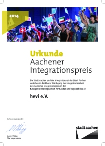 Integrationspreis Urkunde