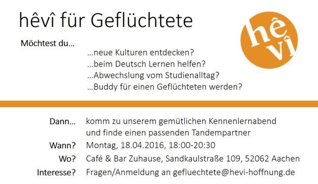 hevi für Geflüchtete - Flyer Buddies 18.04.2016