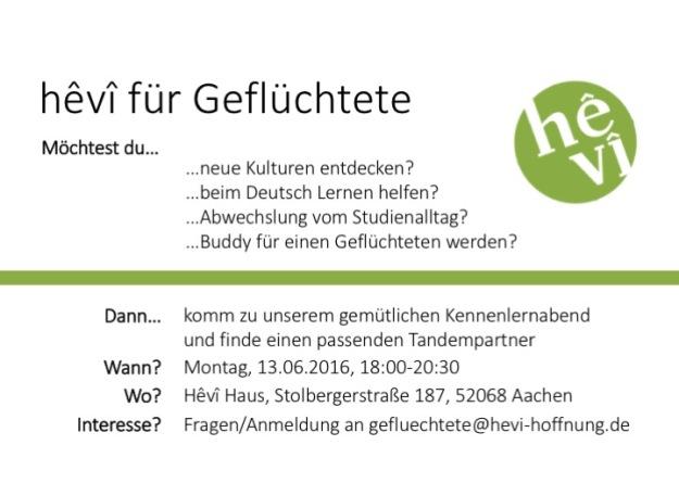 hevi für Geflüchtete Flyer Buddies 13.6.16